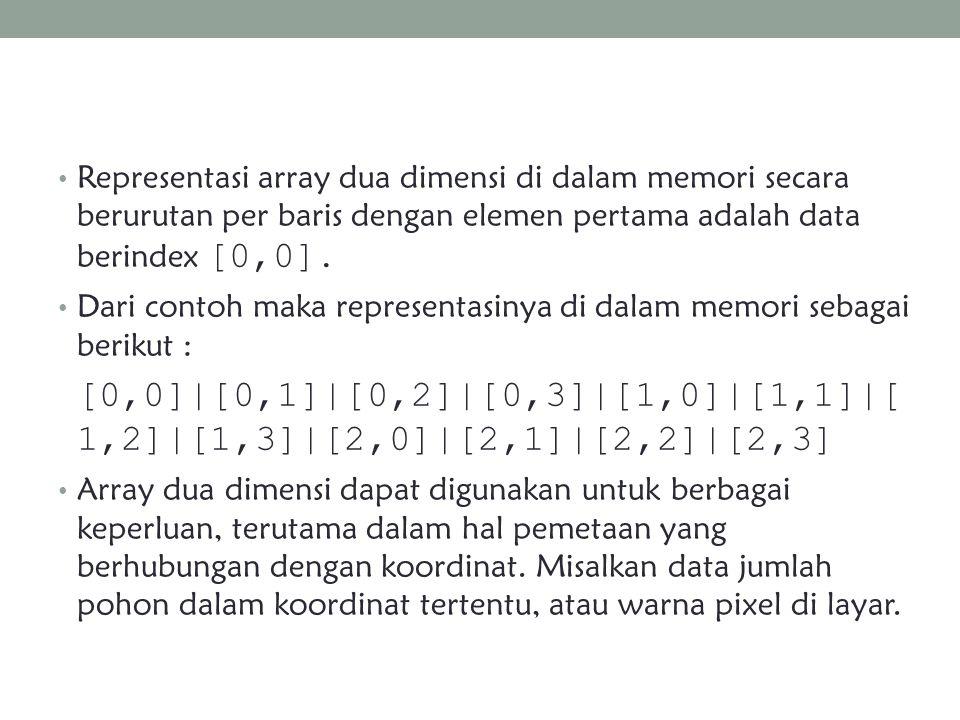 Representasi array dua dimensi di dalam memori secara berurutan per baris dengan elemen pertama adalah data berindex [0,0].